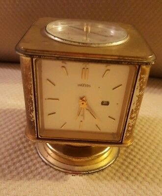 VTG 1930's SWISS~ANGELUS~BRASS WEATHER STATION & MANUAL WIND ALARMED DESK CLOCK