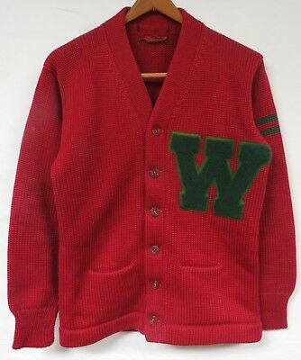 Vintage 40s Cardigan Sweater Chenille Patch Varsity Letterman Red Green WASH U