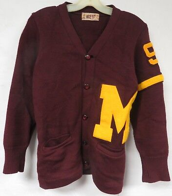 Vintage 40s Cardigan Sweater Chenille Patch Varsity Letterman Red Gold MMA