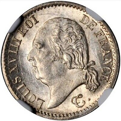 France  Louis Xviii  1817--A  1/4 Franc Coin, Uncirculated Certified Ngc Ms-64