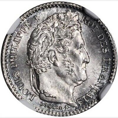France Louis Philippe 1846-A  25 Centimes Coin, Uncirculated Certified Ngc Ms-65