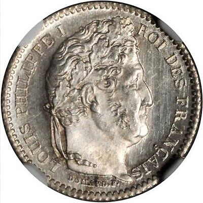 France Louis Philippe 1847-A  25 Centimes Coin, Uncirculated Certified Ngc Ms-65
