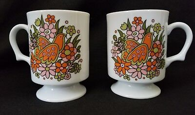Pair of Vintage/Retro Pedestal Mugs Bird Flowers Dove Hippie Floral Colorful