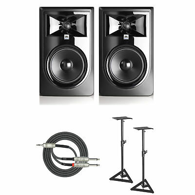 """JBL 306P MkII Powered 6"""" Two-Way Studio Monitor (Pair) with Stands and Cable"""
