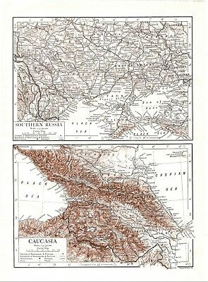 Antique Map of Southern Russia Caucasia Eastern Europe Romania Turkish Empire