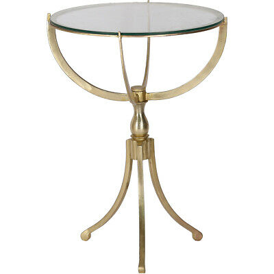 Renwil TA279 Gendey End or Side Table Antique Brass and Clear Glass