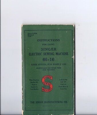 1946 Singer Model 66 Electric Sewing Machine Instruction Manual - 66-16