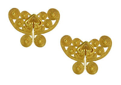 ACROSS THE PUDDLE 24k GP Pre-Columbian Tairona Spirals Butterfly Stud Earrings