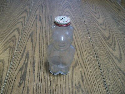 Vtg Beverages Snow Crest BANK Bottle Embossed BEAR Salem Mass with Slotted CAP
