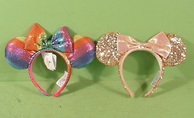 Disney Parks Minnie Mickey Mouse Rainbow Pride & Rose Gold Sequin Ear Headbands