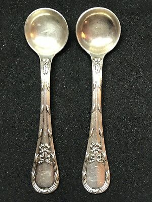 Pair Of Antique Austrian 800 Silver Ornate Salt Spoons .