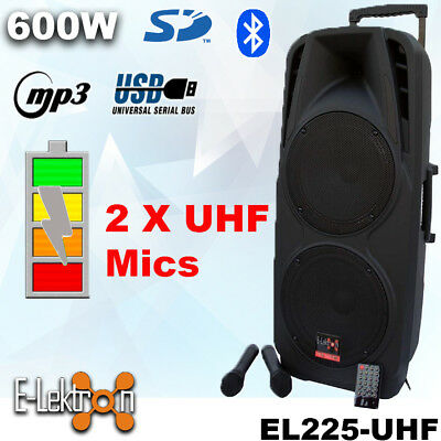 "Dual 10"" inch 600W Mobile PA Sound System Battery BT/2 UHF Mics Portable Speaker"