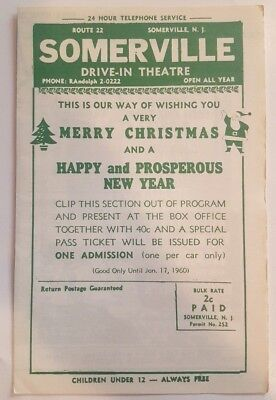 Vintage Somerville NJ Drive-In Theater Program w/ Movie Ads 1959 Drive In Xmas !