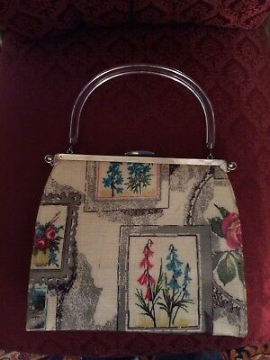 Vintage RARE 1960 reversible lucite handled  tapestry rockabilly  purse hangbag