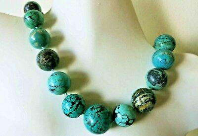 Museum Grade Vintage Antique Chinese Carved Natural Turquoise Necklace 21""