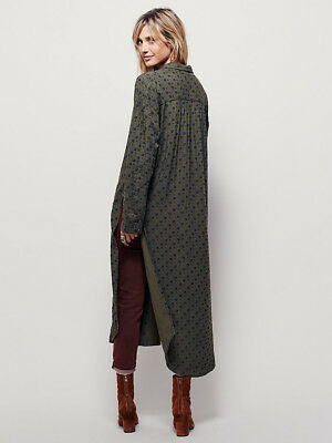 Free People Menswear S Maxi Button Down Shirt Dress Duster Green Jacket Trench