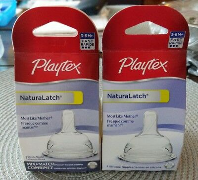 (2B1)  4 Playtex Baby NaturaLatch Silicone Nipple, Fast Flow 2 pack New
