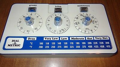 Vintage Dial-A-Metric Conversion Chart Display Kitchen Cooking Baking Instrument
