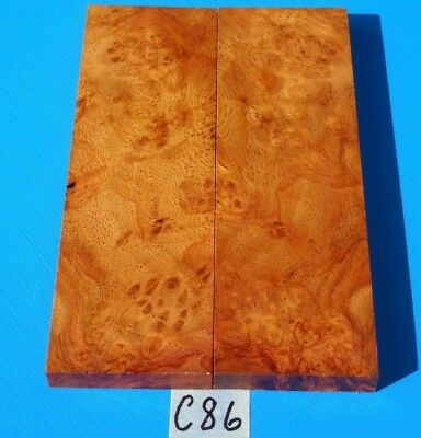 1 Pair Knife Scales Golden Amboyna Burl~Knife Blank Handle Grips~Exotic Wood
