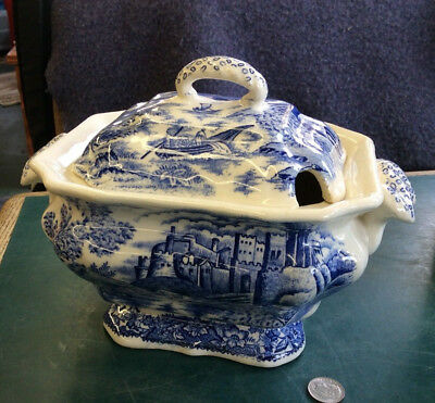Vintage Antique Blue Willow Tureen (no Ladle) Made In Japan (VT)