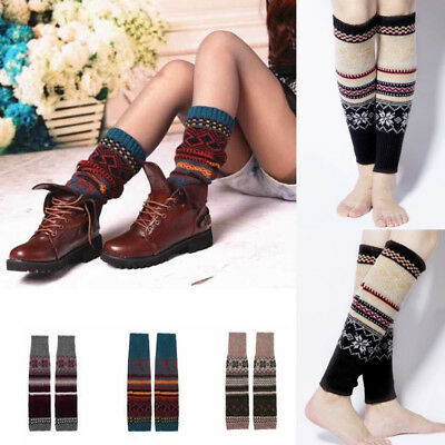 New Fashion Leg Warmers Womens Winter Cable Knit Crochet Knitted Long Socks