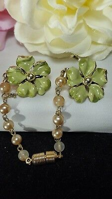 Vintage Gold Estate Green Flower Enamel Pearl Sweater Guard Pin