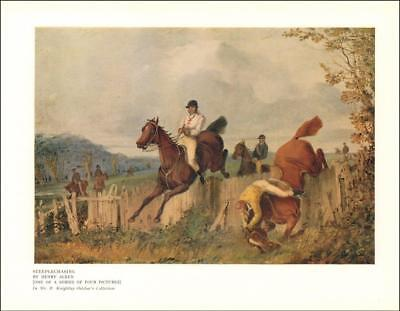 STEEPLECHASING,  HORSE FALLS AT A FENCE by Henry Alken, vintage print 1927