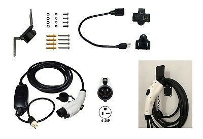 EV Charger Level 2 EVSE PHEV 100-240V 13A 25ft J1772 6-20P 5-15P Adapter Hook