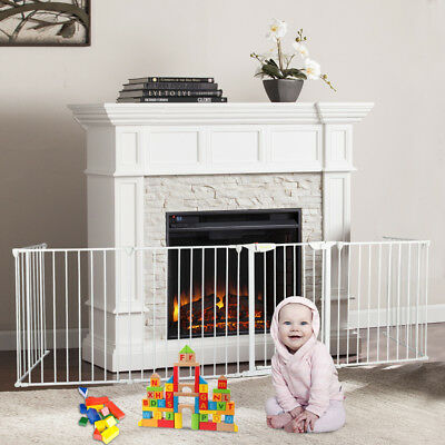 6pc Fireplace Fence Baby Safety Fence Hearth Gate Metal Fire Gate White Pet Dog