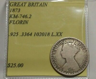 Nice Early Year 1873 Great Britian Florin Silver Coin KM 746.2