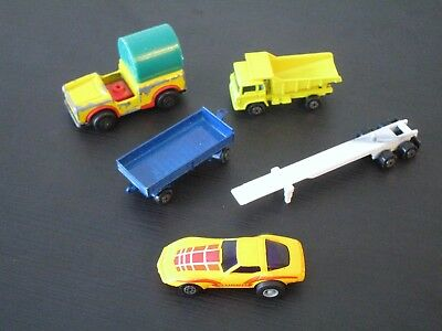 Lot of 5 Vintage Yatming and Matchbox 1/64 Scale Cars Corvette Popeye Truck