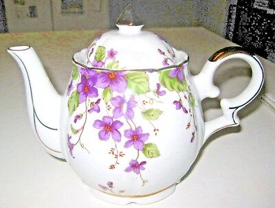 Estate Find~Vintage LEFTON China Musical Teapot w/Violets & 24k Gold Trim~08022