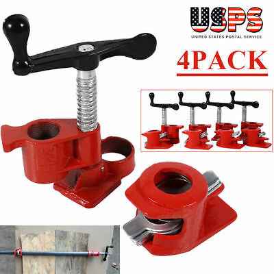 """4PCS 1/2"""" Wood Gluing Pipe Clamp Set Heavy Duty PRO Woodworking Cast Iron New US"""