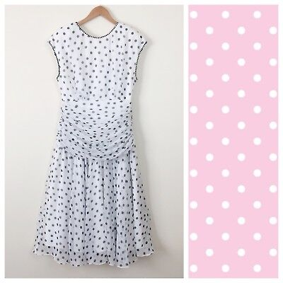 Vintage  Polka Dot Layered Drop Waist Prom Party Dress | Size 16 | 80s does 50s