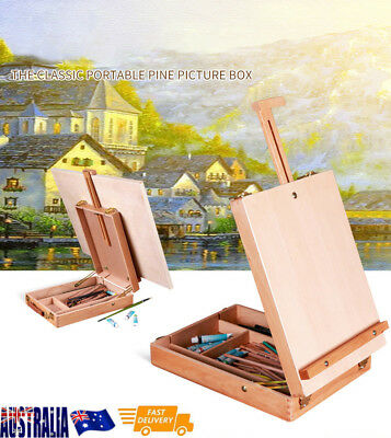 Wooden Artist Display Easel Art Drawing Painting Table Sketching Box Board
