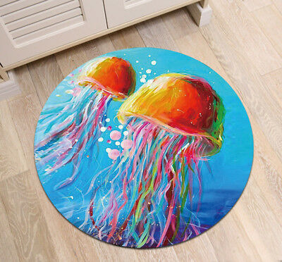 Round Floor Mat Rug Living Room Area Rugs Watercolor Blue Sea Colorful Jellyfish