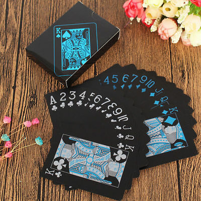 Waterproof Black Plated Playing Cards Full Poker Pub Game Deck with Gift Box UK