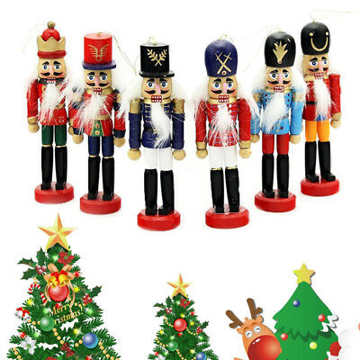 6Pcs Christmas Wooden Nutcracker Soldier Set With Weapon Ornament Decor For Home