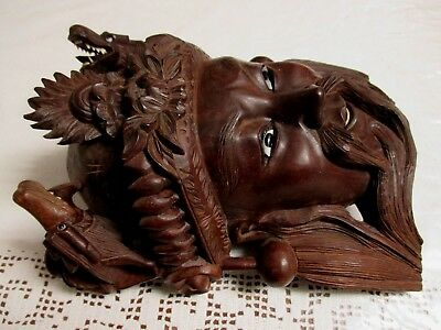 Antique Mongol Rosewood Nicety Hand Carved Rare Mask Of Imperor With The Dragons