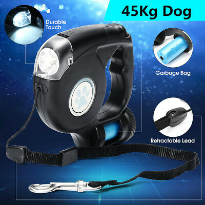 Pet Dog 3 In 1 Retractable Extendable Leash Lead LED Flashlight w/ Garbage Bag