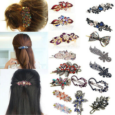25 Styles Women Retro Crystal Rhinestone Bow Flower Hairpin Hair Clips Accessery