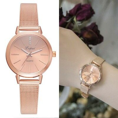 Women Lady Girl Student Wrist Quartz Watch Alloy Strap Portable Round Casual Bir