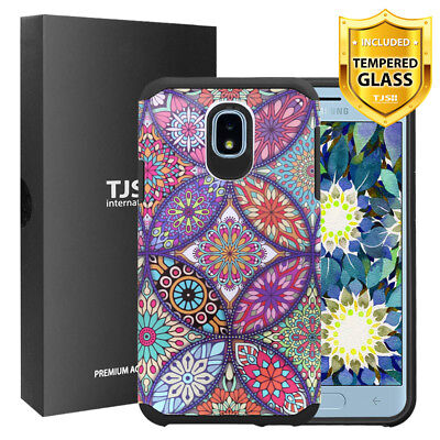 TJS For Samsung Galaxy J7 Crown/J7 Aura Design Cover Phone Case+Tempered Glass