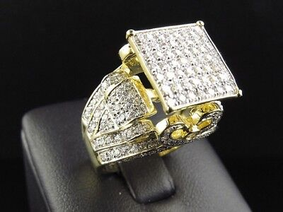 Vintage 18K Yellow Gold Filled White Sapphire Ring Men Women's Jewelry Size 6-10