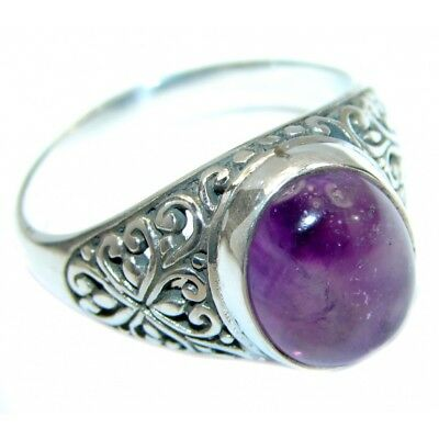 Antique Huge Round Cut Amethyst Women 925 Silver Ring Jewelry Engagement Sz 5-11