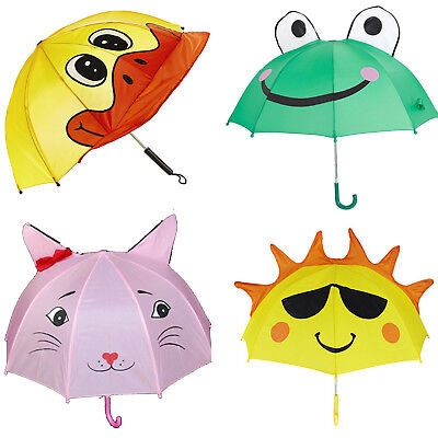 Kids Umbrella Fun Animal Face Character Dome Childrens Design Brolly Boys Girls