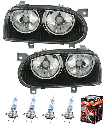 Scheinwerfer Set VW Golf 3 alle Schwarz + OSRAM Night Breaker Unlimited H7 III