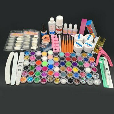 72 Full Set Pro Nail Art Acrylic Powder Liquid Tips Sticker Forms Uv Gel Kit