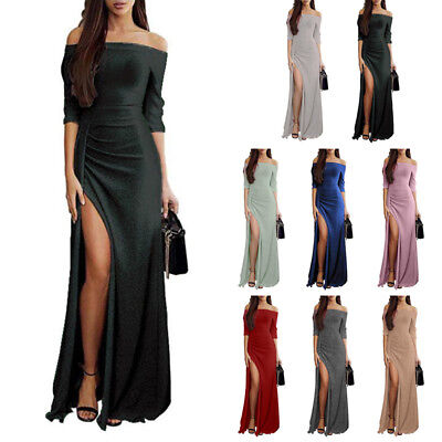 Women Long Sleeve Shiny Off Shoulder Ruched Thigh Slit Bodycon Party Dress M-3XL