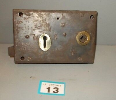 Antique  Brass And Steel Rim Door Lock  13